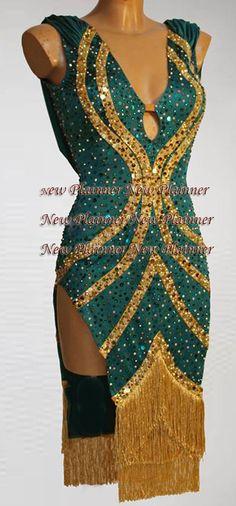 Women Ballroom Rhythm Salsa Rumba Latin Dance Dress US 6 UK 8 Green Gold Fringe | eBay