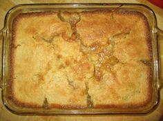 Poor Man's Apple Cobbler  1c flour, 1c sugar, I can pie filling/fruit, vanilla, 1c milk, 1 stuck butter.  (I didn't have self rising flower, so I added baking powder  & salt. And half butter, half margarine)