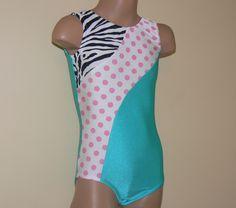 Gymnastics+Leotard+Jade/Polka+dots/Zebra+Print++Size+by+SENDesigne,+$29.00