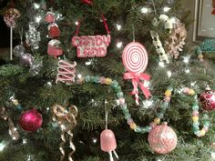 Candyland Couture Christmas, with ornaments of candy, gold ribbon, jewel-colored balls and anything sparkly. by Karla Olson Design