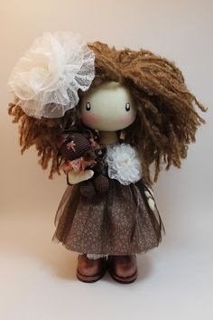 Doll  Lili  milk brown textile doll, cloth doll with brown bear gift for her