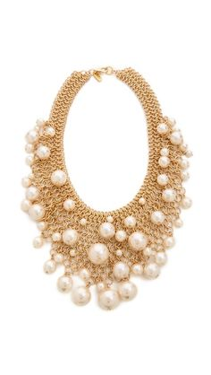 Kenneth Jay Lane Cascading Faux Pearl Necklace