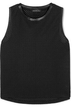 Black stretch-mesh and satin Slips on polyamide, spandex; Work Shorts, Satin Slip, Muscle Tanks, Black Knit, Loose Fit, Tank Man, Mesh, Marvel, Leggings