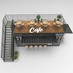 Design And Build A Container Pop Up Cafe, Restaurant, and Bar Café Design, Design Patio, Kiosk Design, Cafe Shop Design, Restaurant Interior Design, Shop Interior Design, Small Cafe Design, Cozy Cafe Interior, Food Truck Interior