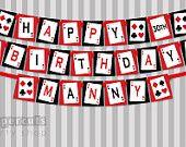 Casino night poker theme happy birthday party banner red & e Casino Night Party, Casino Theme Parties, Party Themes, Party Ideas, Vegas Party, Personalized Happy Birthday Banner, Personalized Banners, Happy Birthday Parties, Happy Birthday Banners