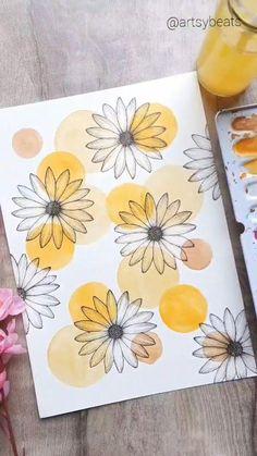 Art Painting Gallery, Diy Painting, Painting & Drawing, Flower Art, Flower Doodle Art, Daisy Flower Drawing, Flower Doodles, Diy Canvas Art, Small Canvas Art