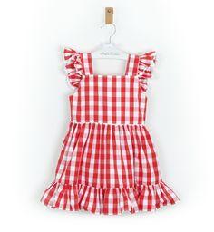 -NUEVO- Vestido niña Vichy rojo con lazada Aiana Larocca | Aiana Larocca