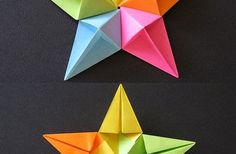 www.OrigamiFoldings.com How to Make a beautiful Colorful Star Origami Easy!