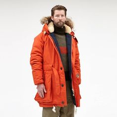 ....Of course it's our Antarctic Parka!  Introduced to our Authentic collection in AW15 as Nigel's tribute to another Hillary feat - the 1955 Trans-Antarctic expedition.  The Antarctic Parka is made with the same quality as the Everest but is longer in length and has a vintage metal buckle fastener at the waist.  Online and in store in 3 key colours... First up - Vintage orange  #NigelCabourn #Orange #Ventile #MadeInEngland