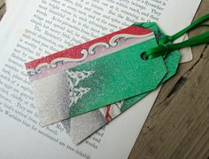 Silver glittered gift tags made from 1940s  Christmas cards. More vintage gift tags at xmasmuse.etsy.com.
