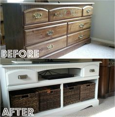 Dresser turned TV stand makeover! Refinishing furniture with drawers replaced with openings for electronics and baskets.