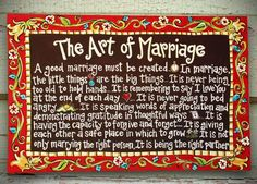 Marriage Canvas Art  Inspiring and encouraging words. Great wedding gift. Colorful handpainted wall hanging.