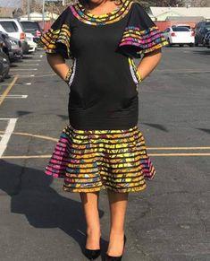 Image of Ankara Patch sunshine flair dress African Fashion Ankara, Latest African Fashion Dresses, African Dresses For Women, African Print Dresses, African Print Fashion, African Attire, Modern African Dresses, African Traditional Dresses, Formal Dresses