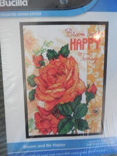 BUCILLA BLOOM AND BE HAPPY Flowers Counted Cross Stitch KIT #WM46046 #Bucilla