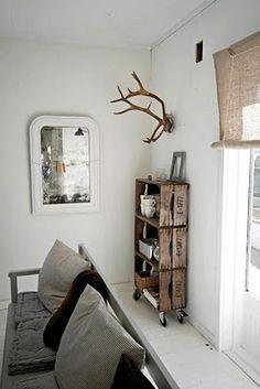 Industrial Wood Crate Décor. Love it as a shelving unit.