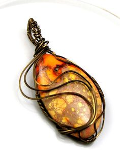 Items similar to Sea Sediment Jasper Pendant - wire wrapped on Etsy