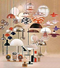 advert for Louis Poulsen mod retro lighting / lamps / fixtures showing mostly designs by Verner Panton and Poul Henningsen from the and via DC Hillier Vintage Lighting, Modern Lighting, Lighting Design, Lighting Ideas, Vintage Designs, Retro Vintage, Deco Luminaire, Style Deco, Mid Century Lighting