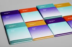 Exhibition catalogue in 8 different color combinations for artist Mads Gamdrup designed by Designbolaget.