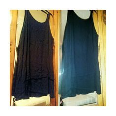 Black Layered Tunic Layered so that each layer is a different length ...very long perfect for leggings...thick material but yet very cool ..( breathable)  Maybe worn once if that Tops Tunics