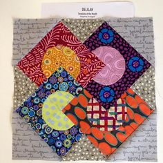 Using my Kaffe scraps for practice of block 1 Jen Kingwell Delilah quilt template of the month club from the Stitchin Post. #sewmuchinspiration