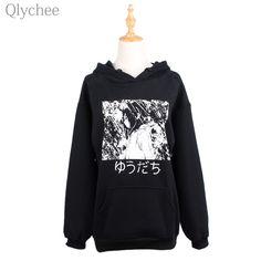 Qlychee BF Style Winter Black Women Hoodies Long Sleeve Japanese Manga Comics Print Sweatshirt Anime Pattern Loose Hoodies on Aliexpress.com   Alibaba Group