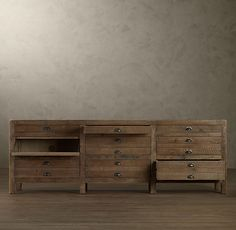 "Printmaker's Media Console $1395 Restoration Hardware (also comes in a 55"" wide size for $1095)"