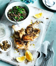 Fast za'atar chicken with lentils recipe :: Gourmet Traveller