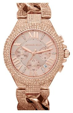 Michael Kors Midsize Rose Golden Stainless Steel Camille Chronograph Glitz  Link Watch in Pink (rose golden) - Lyst.and I thought I didn t like watches! a9fd6b89794