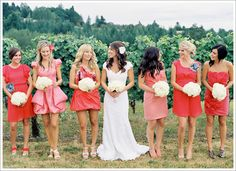 WHITE flowers. bride's hair. dresses. yes