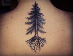 pine tree tattoo with word on back