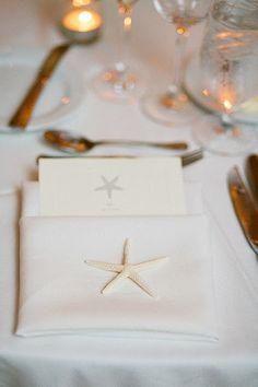 starfish on each napkin with starfish menu tucked in