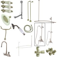 Kingston Brass Vintage High Rise Gooseneck Clawfoot Tub and Shower Package with Porcelain Lever Handles, Satin Nickel Shower Enclosure, Shower Tub, Shower Heads, Clawfoot Tub Faucet, Bathtub, Vintage Tub, Kingston Brass, Shower Systems, Water Supply