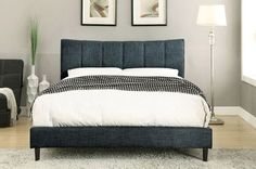 Furniture of America Ennis Collection Blue California King Size Platform Bed CM7678BL-CK