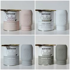 Easy DIY Chalk Painted Mason Jars What You Need: 3 mason jars Flowers Chalk paint (ultra-matte) Paint brush/waxing brush Finishing Mason Jar Projects, Mason Jar Crafts, Mason Jar Diy, Diy Projects, Woodworking Projects, Woodworking Shop, Chalk Paint Projects, Paint Ideas, Mason Jar Kitchen Decor