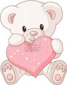 Lindo osito de peluche con corazón Rosa amor  Foto de archivo - 9782505