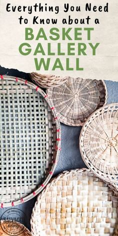 Home Decor Contemporary everything you need to know about creating basket gallery wall art. Where to find vintage baskets, how to hang baskets and how to layout a basket gallery wall are all here in this gorgeous gallery wall trend idea. Vintage Baskets, Vintage Decor, Baskets On Wall, Wall Basket, Hanging Baskets, Rugs In Living Room, Cozy Living, Small Living, Modern Living