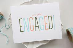 Items similar to Engagement Letterpress Card - Engagement Congratulations Card - Wedding on Etsy Engagement Cards, Engagement Pictures, Engagement Session, Congratulations To You, Wedding Invitation Wording, Letterpress, Stationery, Greeting Cards, Box Studio