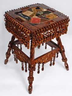"American Carved Whimsey Table, chain aprons, ball-in-cage legs, signed ""Made by Albert Adams, Oct 24, 1941..."", 28.5 in. high"