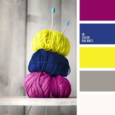 Contrast combinations of saturated yellow, blue and aubergine colors are complemented by gray and white colors. Such color composition suites well premises Yarn Color Combinations, Colour Schemes, Color Patterns, Colour Pallette, Color Palate, Neon Colors Palette, Yarn Colors, Colours, White Colors