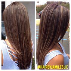 Beautiful natural dark brown hair with a medium golden beige partial highlight. Beautiful. Hair by: Jami Leslie Tiger Tail Salon: Carlsbad, CA #hairbyjamileslie #tigertailsalon