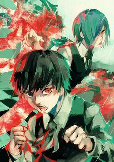 Touka and Kaneki - Tokyo Ghoul Kaneki, Tsukiyama, Manga Art, Anime Art, Tokyo Ghoul Fan Art, Tokyo Ghoul Pictures, Yatori, Fanart, Joker