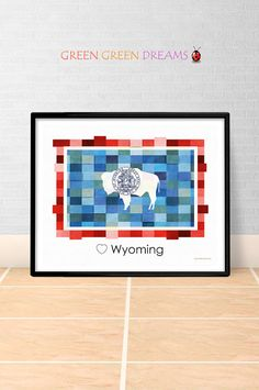 Wyoming Flag Print Poster Wall art Wyoming US State flags Wyoming WY printable download Home Decor Digital Print gift GreenGreenDreams