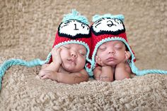 2012 Crochet TWIN Thing 1 Thing 2 braided earflap hats custom sizes newborn to 12 months. $48.95, via Etsy.