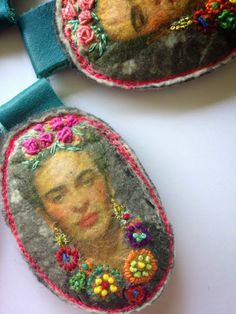 linda lammerts frida kahlo photo transfer and embroidery textile art pendants for folk mexican necklace or choker