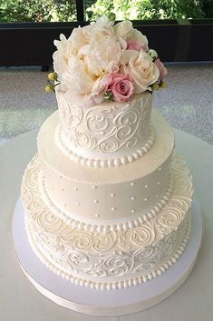 200 Most Beautiful Wedding Cakes for Your Wedding Elegant Wedding Cake Designs . 200 Most B Floral Wedding Cakes, White Wedding Cakes, Elegant Wedding Cakes, Wedding Cake Designs, Wedding Ideas, Trendy Wedding, Lace Wedding, Perfect Wedding, Elegant Cakes