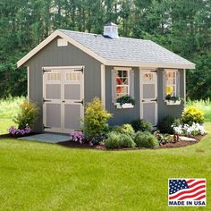 """EZ Fit 12' X 24' Riverside Wood Shed Kit With Floor Designed to offer plenty of light and easy access, the EZ-fit Riverside shed kit features a single door flanked by two 24"""" x 36"""" windows, in additio"""