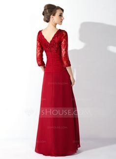 A-Line/Princess V-neck Floor-Length Ruffle Beading Sequins Zipper Up Sleeves 3/4 Sleeves No Burgundy Spring Fall General Plus Chiffon Lace Mother of the Bride Dress