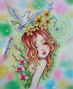 Beautiful coloring by Karine Calabra using Marco Raffine pencils and pastel background.  Original art by Jeremiah Ketner https://www.etsy.com/people/smallandround