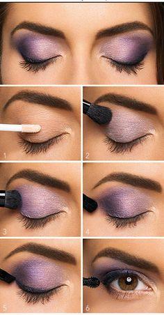 Lovely Purple Eyeshadow Tutorial For Beginners | 12 Colorful Eyeshadow Tutorials For Beginners Like You! by Makeup Tutorials at http://makeuptutorials.com/colorful-eyeshadow-tutorials-for-beginners/