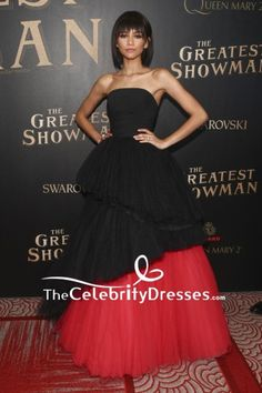 #ZendayaColeman #BlackDresses And Red #StraplessDresses #BallGown The Greatest Showman Premiere